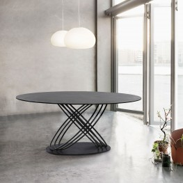 Glacier Contemporary Dining Table in Grey Powder Coated Finish and Grey Stone Glass Top