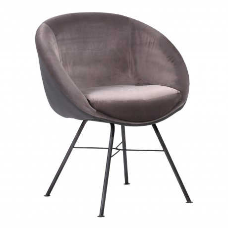 Glacier Contemporary Dining Chair in Grey Powder Coated Finish and Grey Velvet
