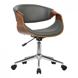 Armen Living Geneva Mid-Century Office Chair in Chrome finish with Gray Faux Leather and Walnut Veneer Arms