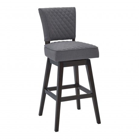 "Gia 30"" Bar Height Barstool in Espresso Finish and Grey Fabric"