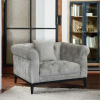 Armen Living Glamour Contemporary Chair with Black Iron Finish Base and Beige Fabric