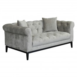 Armen Living Glamour Contemporary Loveseat with Black Iron Finish Base and Beige Fabric