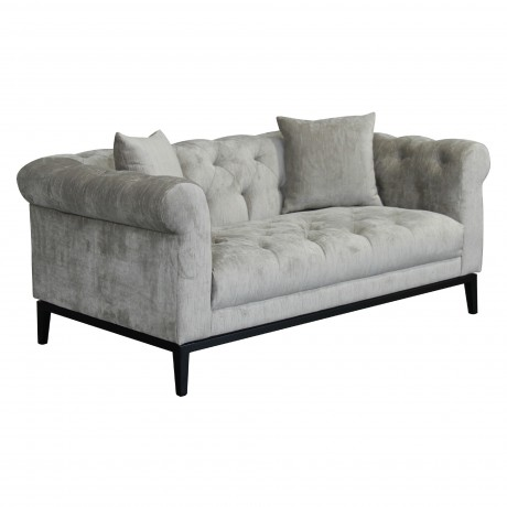 Glamour Contemporary Loveseat with Black Iron Finish Base and Beige Fabric