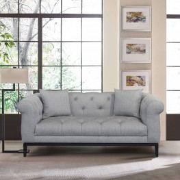Glamour Contemporary Loveseat with Black Iron Finish Base and Grey Fabric