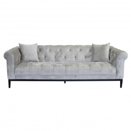 Glamour Contemporary Sofa with Black Iron Finish Base and Beige Fabric