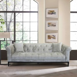 Armen Living Glamour Contemporary Sofa with Black Iron Finish Base and Beige Fabric
