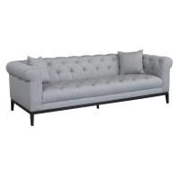 Armen Living Glamour Contemporary Sofa with Black Iron Finish Base and Grey Fabric