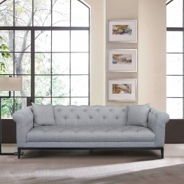 Glamour Contemporary Sofa with Black Iron Finish Base and Grey Fabric