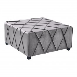 Armen Living Gemini Contemporary Ottoman in Grey Velvet with Piping Accents and Wood Legs