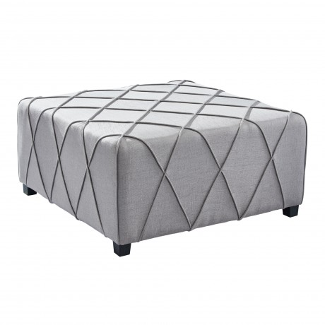 Gemini Contemporary Ottoman in Silver Linen with Piping Accents and Wood Legs