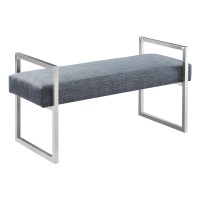 Armen Living Grant Contemporary Bench in Slate Grey Linen and Brushed Stainless Steel Finish