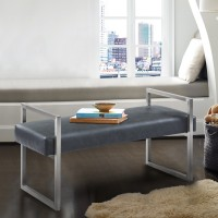 Armen Living Grant Contemporary Bench in Grey Faux Leather and Brushed Stainless Steel Finish