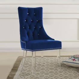 Gobi Modern and Contemporary Tufted Dining Chair in Blue Velvet with Acrylic Legs