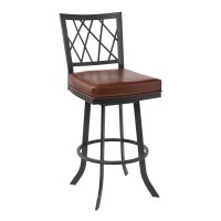 """Giselle Contemporary 26"""" Counter Height Barstool in Matte Black Finish and Vintage Coffee Faux Leather"""
