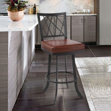 """Giselle Contemporary 30"""" Bar Height Barstool in Matte Black Finish and Vintage Coffee Faux Leather"""