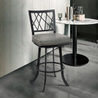 """Giselle Contemporary 30"""" Bar Height Barstool in Matte Black Finish and Vintage Grey Faux Leather"""
