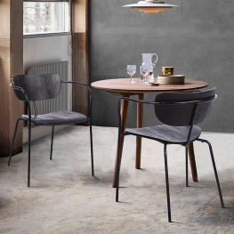 Gavin Steel Side Chair in Black Powder Coating Finish and Black Brushed Wood-Set of 2
