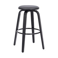 """Harbor 26"""" Backless Swivel Grey Faux Leather and Black Wood Bar Stool"""