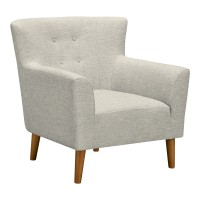 Hyland Mid-Century Accent Chair in Champagne Finish and Beige Fabric with Rubber Wood