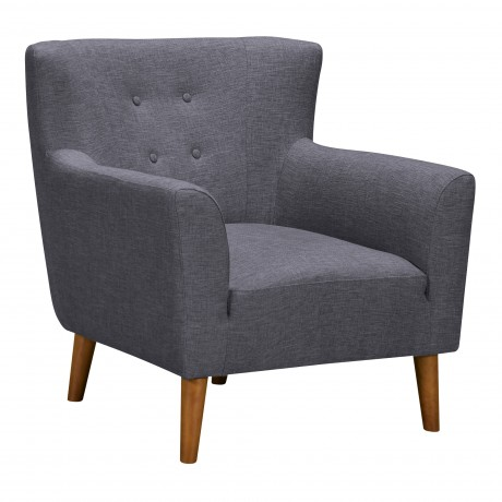 Hyland Mid-Century Accent Chair in Champagne Finish and Dark Grey Fabric with Rubber Wood