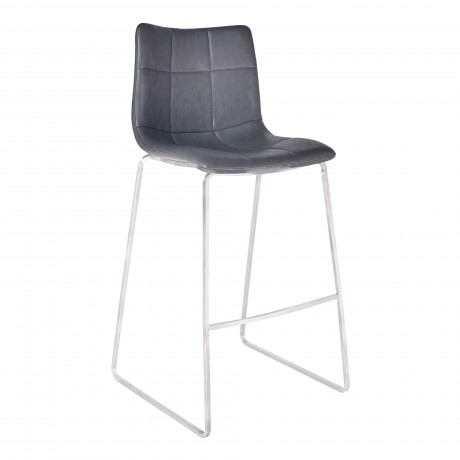 "Hamilton 26"" Counter Height Barstool in Brushed Stainless Steel with Vintage Grey Faux Leather"