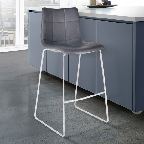 "Armen Living Hamilton 30"" Bar Height Barstool in Brushed Stainless Steel with Vintage Grey Faux Leather"