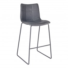 "Hamilton 26"" Counter Height Barstool in Grey Powder Coated finish with Vintage Grey Faux Leather"