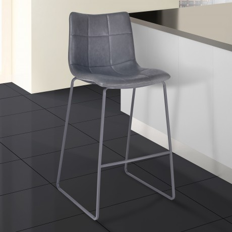 "Armen Living Hamilton 30"" Bar Height Barstool in Grey Powder Coated finish with Vintage Grey Faux Leather"