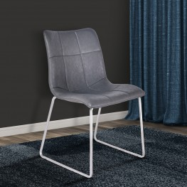 Hamilton Contemporary Dining Chair in Brushed Stainless Steel with Vintage Grey Faux Leather - Set of 2