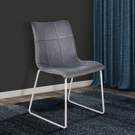 Armen Living Hamilton Contemporary Dining Chair in Brushed Stainless Steel with Vintage Grey Faux Leather - Set of 2