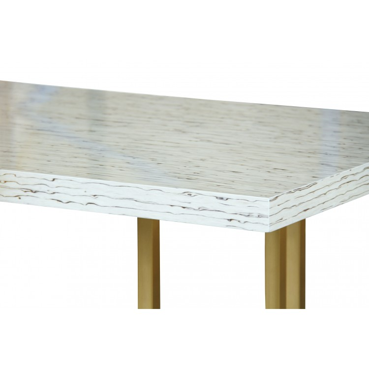 Harmony Contemporary Dining Table In Brushed Gold Finish