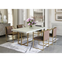 Armen Living Harmony Contemporary Dining Table in Brushed Gold Finish and Ash Veneer Top
