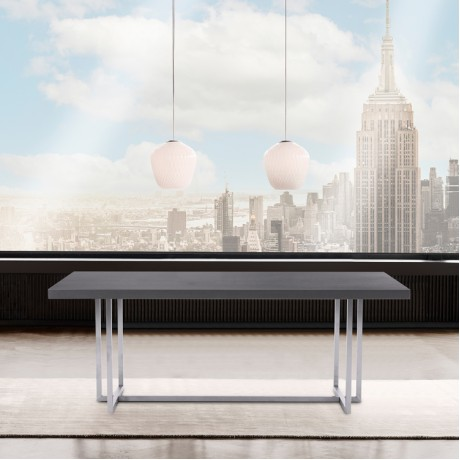 Harmony Contemporary Dining Table in Silver Finish and Gray Veneer Top