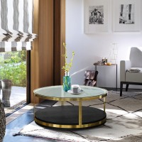 Armen Living Hattie Contemporary Coffee Table in Brushed Gold Finish and Black Wood