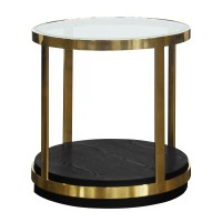 Armen Living Hattie Contemporary End Table in Brushed Gold Finish and Black Wood