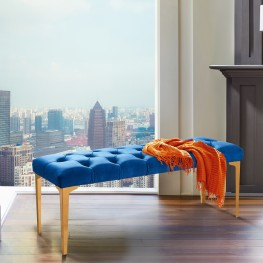 Hayley Contemporary Bench in Blue Velvet and Gold Stainless Steel Finish