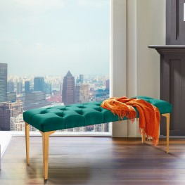 Hayley Contemporary Bench in Green Velvet and Gold Stainless Steel Finish