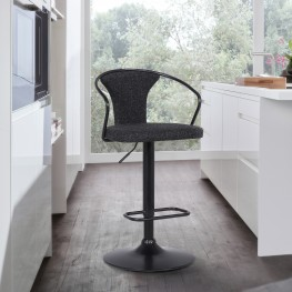 Ian Contemporary Adjustable Barstool in Black Powder Coated Finish and Black Fabric