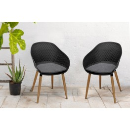 Ipanema Outdoor Dining Chair in Black Finish with Wood Legs- Set of 2