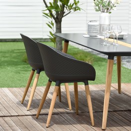 Ipanema Outdoor Dining Chair in Black Finish with Wood Legs