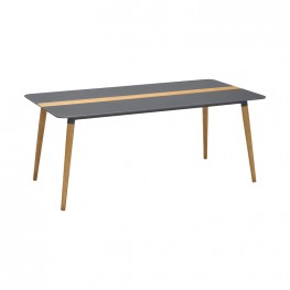Ipanema Outdoor Aluminum Dining Table in Dark Grey with Natural Teak Wood Accent