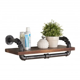 "24"" Isadore Industrial Pine Wood Floating Wall Shelf in Gray and Walnut Finish"
