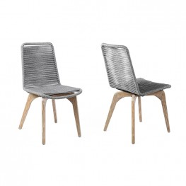 Island Outdoor Light Eucalyptus Wood and Grey Rope Dining Chairs - Set of 2