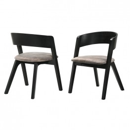 Jackie Mid-Century Upholstered Dining Chairs in Black finish - Set of 2