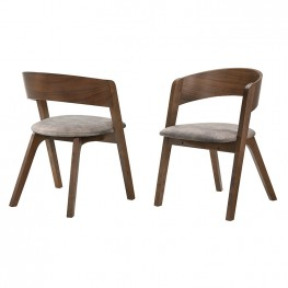 Jackie Mid-Century Upholstered Dining Chairs in Walnut finish - Set of 2