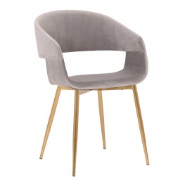 Jocelyn Mid-Century Grey Dining Accent Chair with Gold Metal Legs