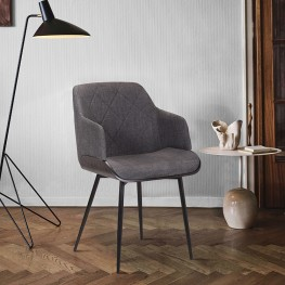 Jaida Charcoal Cushion Side Chair in Black Powder Coated Finish and Black Brushed Wood