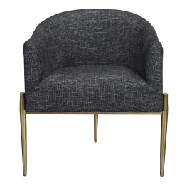 Armen Living Jolie Contemporary Accent Chair in Shiny Gold Finish with Black Fabric