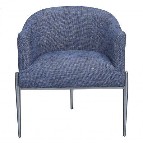Jolie Contemporary Accent Chair in Polished Stainless Steel Finish and Blue Fabric