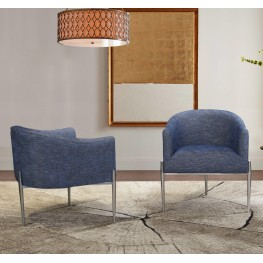 Armen Living Jolie Contemporary Accent Chair in Polished Stainless Steel Finish and Blue Fabric